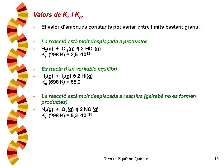 Valors de Kc i Kp. w El valor d'ambdues constants pot variar entre límits