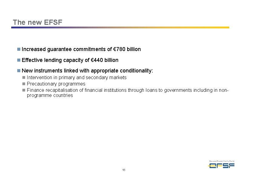 The new EFSF n Increased guarantee commitments of € 780 billion n Effective lending