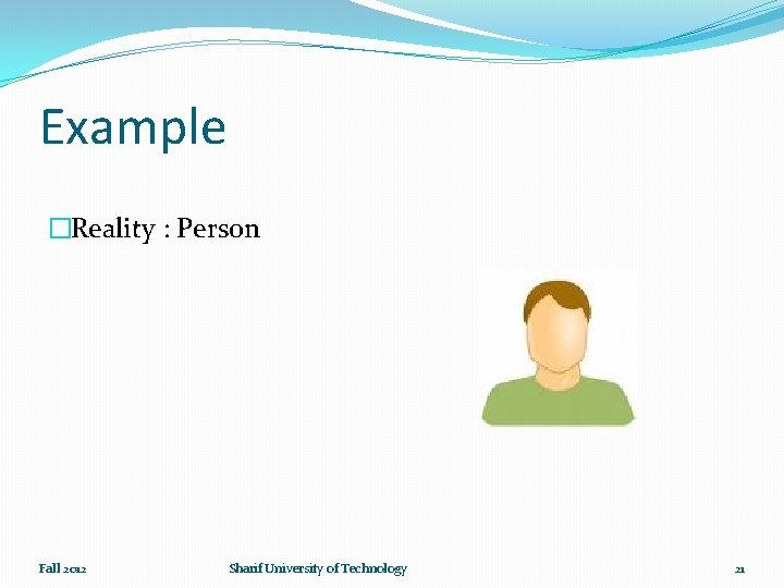 Example �Reality : Person Fall 2012 Sharif University of Technology 21