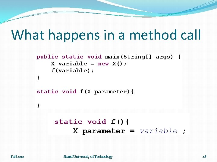 What happens in a method call Fall 2010 Sharif University of Technology 28
