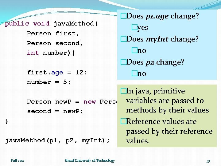 public void java. Method( Person first, Person second, int number){ first. age = 12;