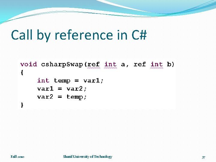 Call by reference in C# Fall 2010 Sharif University of Technology 37