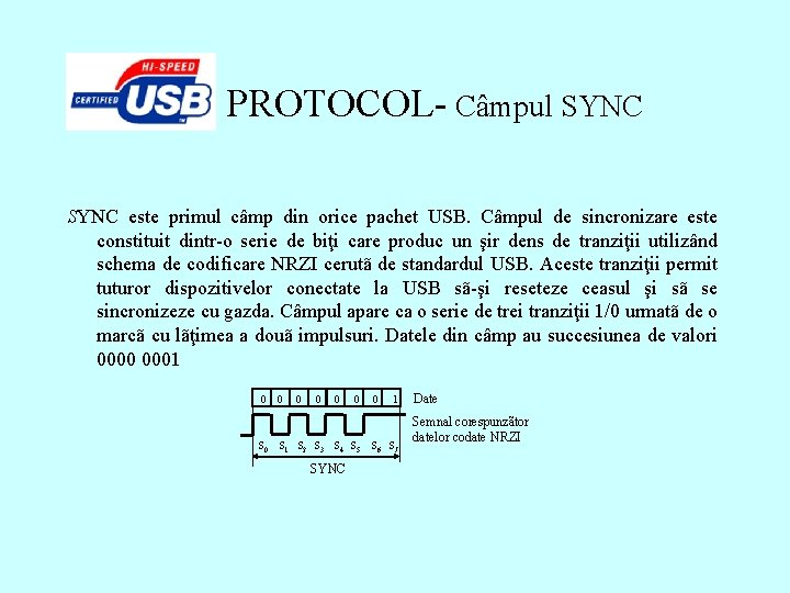 PROTOCOL- Câmpul SYNC este primul câmp din orice pachet USB. Câmpul de sincronizare este