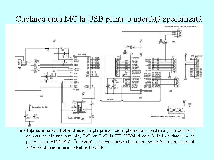 Cuplarea unui MC la USB printr-o interfaţă specializată Interfaţa cu microcontrollerul este simplă şi