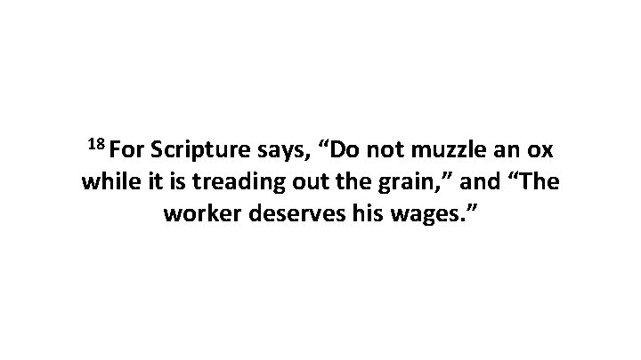 """18 For Scripture says, """"Do not muzzle an ox while it is treading out"""