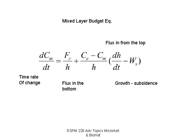 Mixed Layer Budget Eq. Flux in from the top Time rate Of change Flux