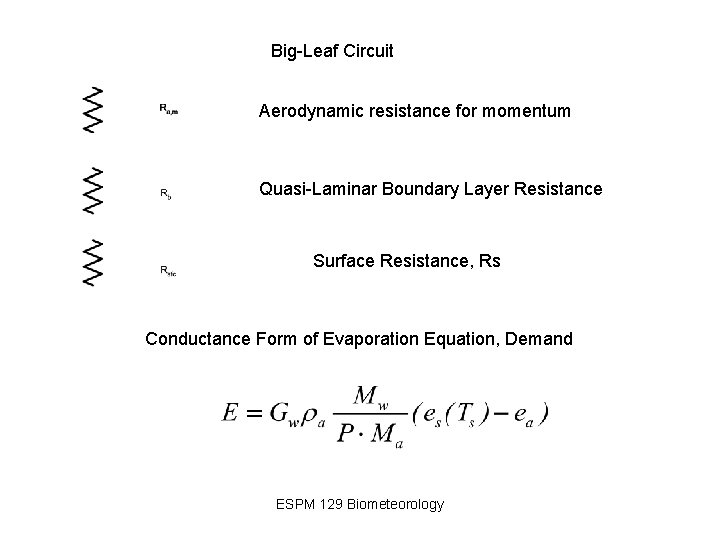 Big-Leaf Circuit Aerodynamic resistance for momentum Quasi-Laminar Boundary Layer Resistance Surface Resistance, Rs Conductance