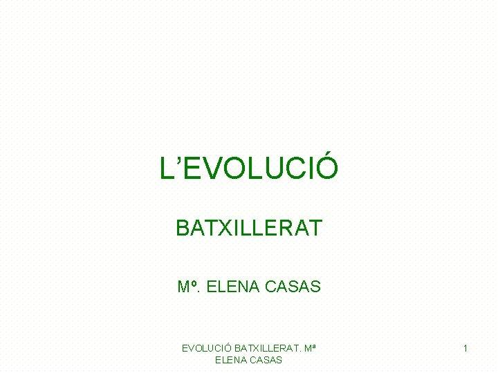 L'EVOLUCIÓ BATXILLERAT Mº. ELENA CASAS EVOLUCIÓ BATXILLERAT. Mª ELENA CASAS 1