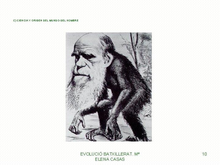 C) CIENCIA Y ORIGEN DEL MUNDO-DEL HOMBRE EVOLUCIÓ BATXILLERAT. Mª ELENA CASAS 10