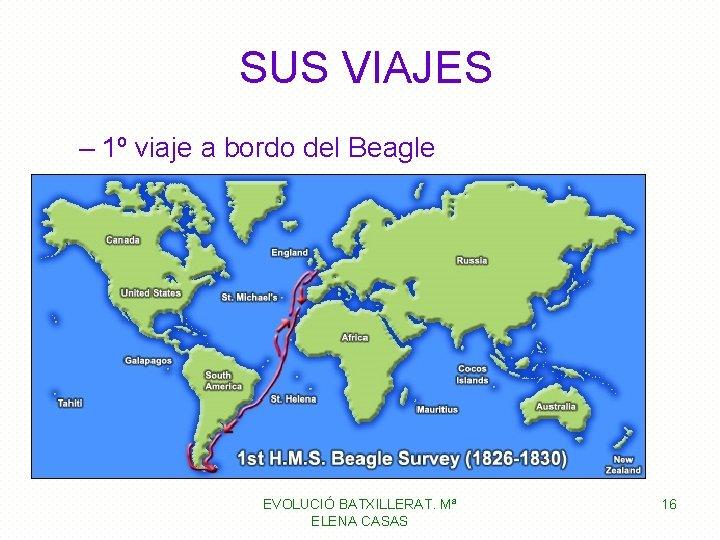 SUS VIAJES – 1º viaje a bordo del Beagle EVOLUCIÓ BATXILLERAT. Mª ELENA