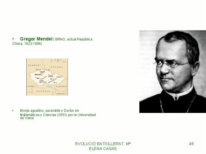 • Gregor Mendel ( BRNO, actual República Checa, 1822 -1884) • Monje agustino,