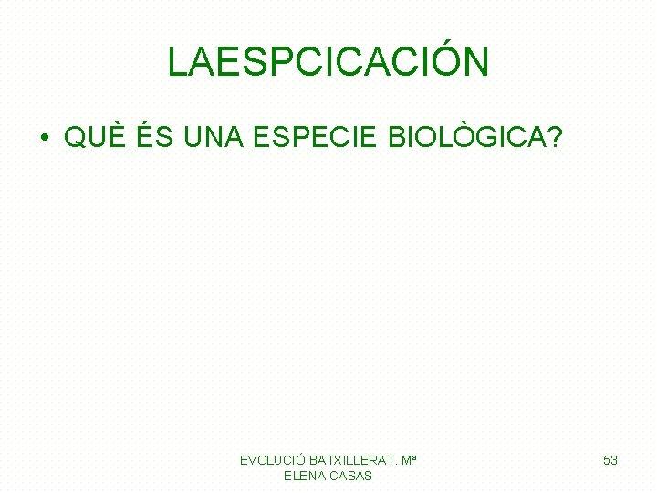 LAESPCICACIÓN • QUÈ ÉS UNA ESPECIE BIOLÒGICA? EVOLUCIÓ BATXILLERAT. Mª ELENA CASAS 53