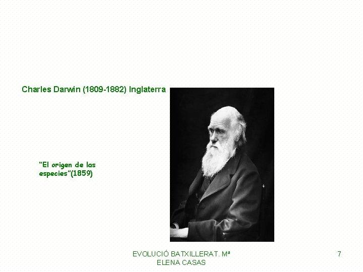 """Charles Darwin (1809 -1882) Inglaterra """"El origen de las especies""""(1859) EVOLUCIÓ BATXILLERAT. Mª ELENA"""