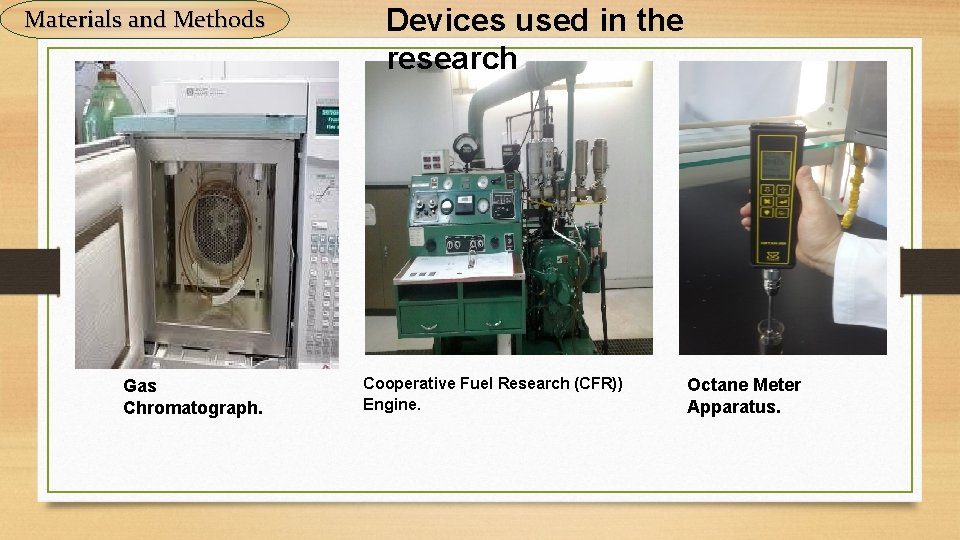 Materials and Methods Gas Chromatograph. Devices used in the research Cooperative Fuel Research (CFR))