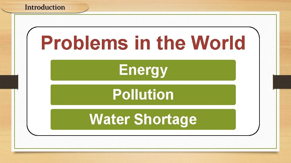 Problems in the World Energy Pollution Water Shortage