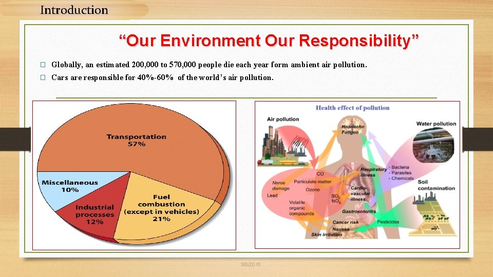 """Introduction """"Our Environment Our Responsibility"""" � Globally, an estimated 200, 000 to 570, 000"""