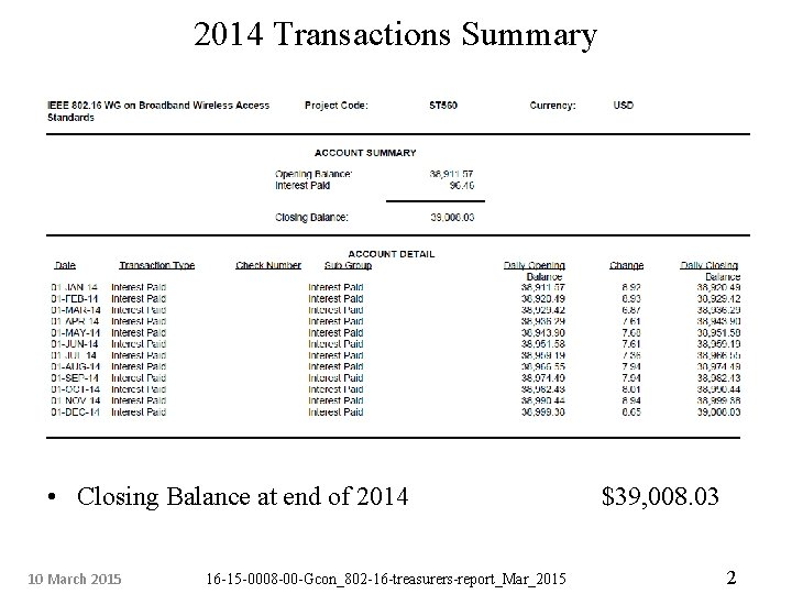 2014 Transactions Summary • Closing Balance at end of 2014 10 March 2015 16
