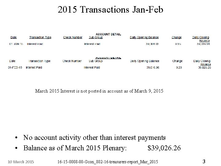2015 Transactions Jan-Feb March 2015 Interest is not posted in account as of March