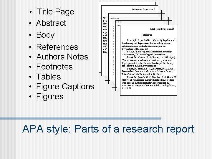 • Title Page • • Abstract Body References Authors Notes Footnotes Tables Figure