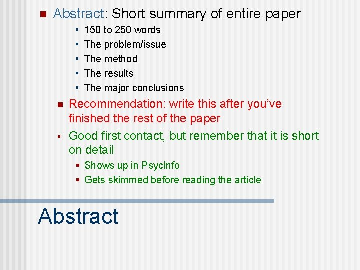 n Abstract: Short summary of entire paper • • • n § 150 to