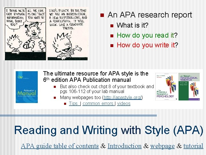 n An APA research report n n n What is it? How do you