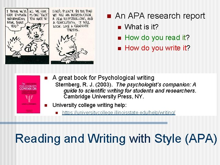 n An APA research report n n What is it? How do you read