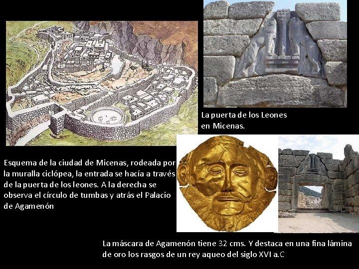 La puerta de los Leones en Micenas. Esquema de la ciudad de Micenas, rodeada