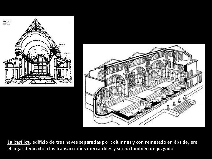 La basílica, edificio de tres naves separadas por columnas y con rematado en ábside,