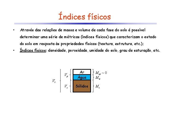 Índices físicos • Através das relações de massa e volume de cada fase do
