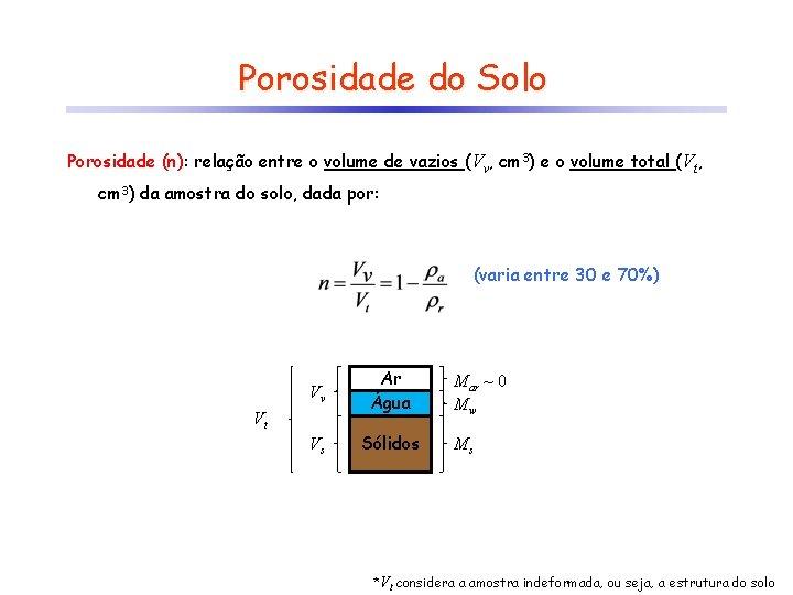 Porosidade do Solo Porosidade (n): relação entre o volume de vazios (Vv, cm 3)