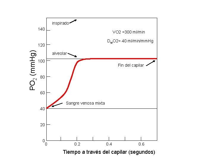 inspirado 140 VO 2 =300 ml/min DMO 2= 40 ml/min/mm. Hg PO 2 (mm.
