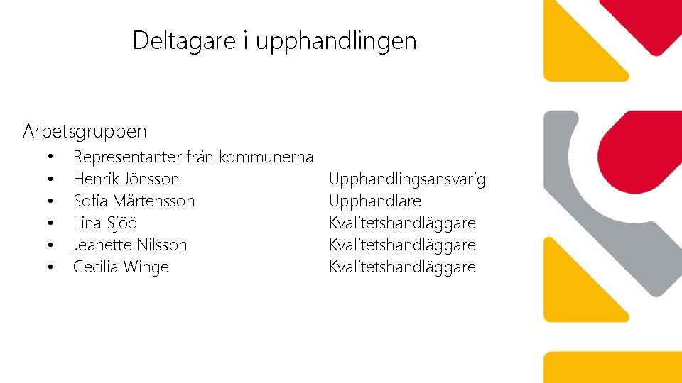 Deltagare i upphandlingen Arbetsgruppen • • • Representanter från kommunerna Henrik Jönsson Sofia Mårtensson