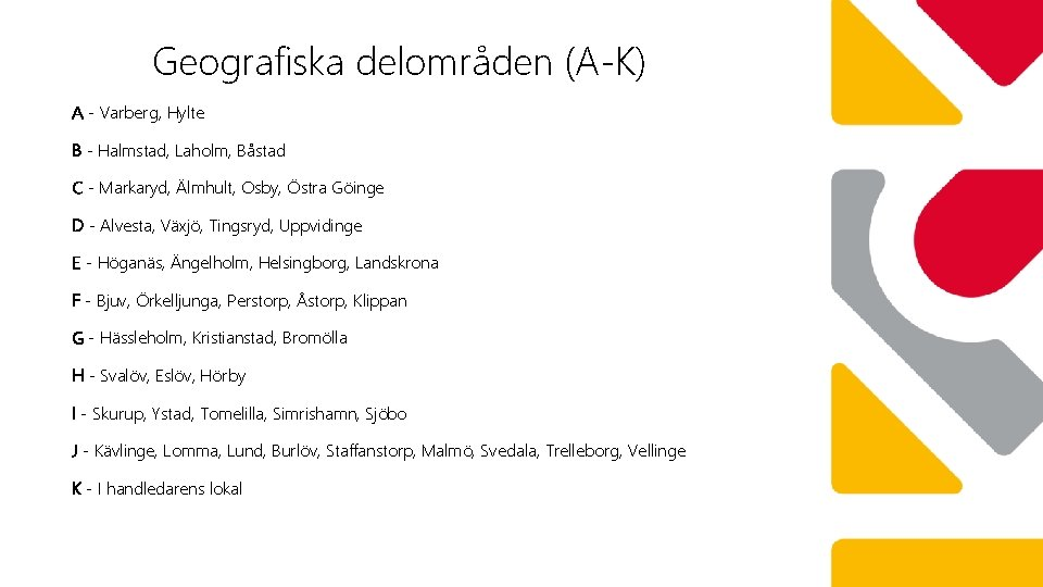 Geografiska delområden (A-K) A - Varberg, Hylte B - Halmstad, Laholm, Båstad C -