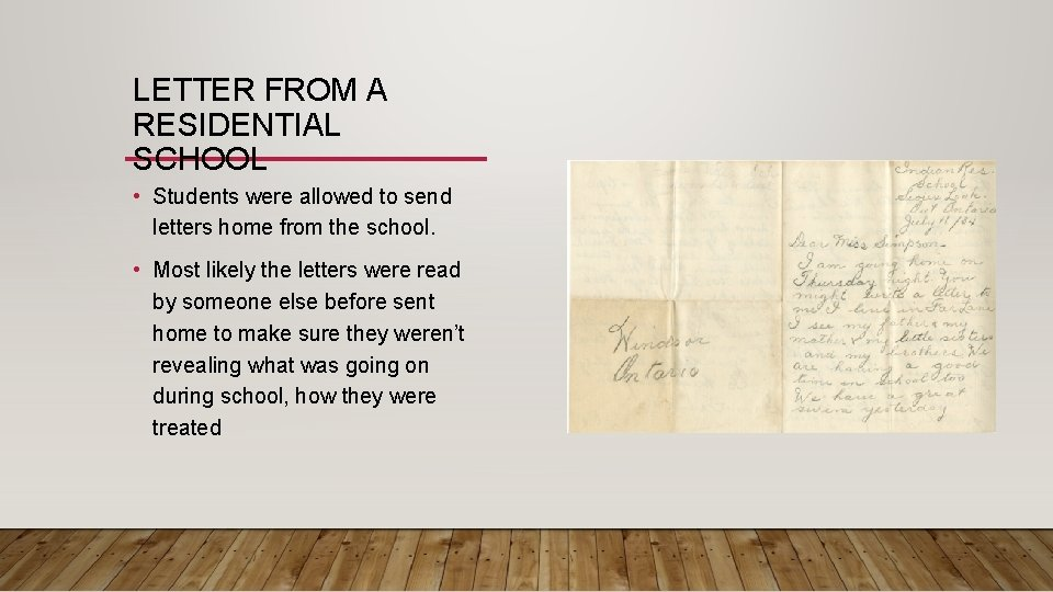 LETTER FROM A RESIDENTIAL SCHOOL • Students were allowed to send letters home from