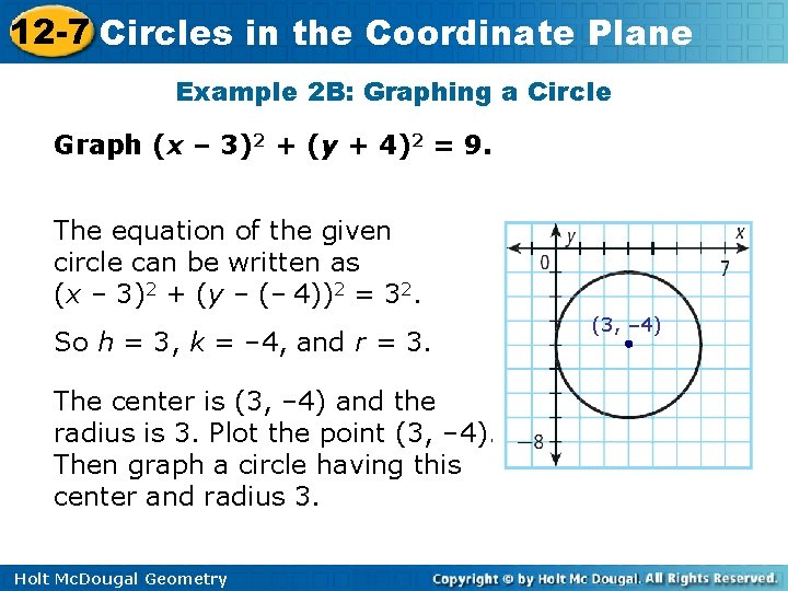 12 -7 Circles in the Coordinate Plane Example 2 B: Graphing a Circle Graph