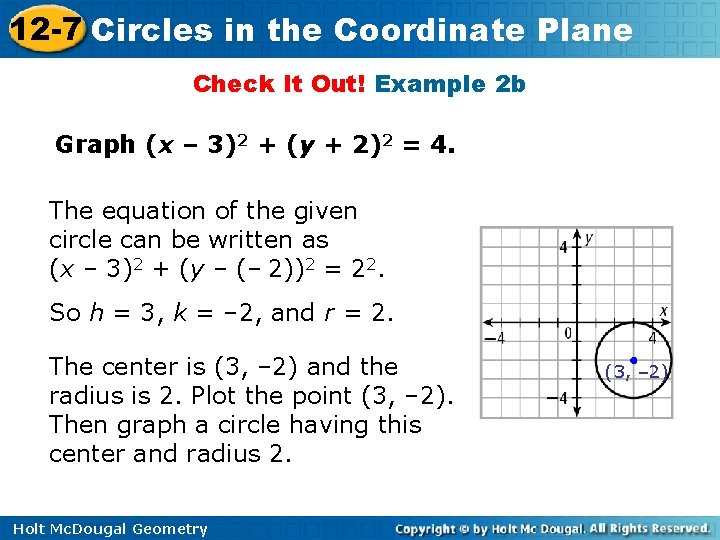 12 -7 Circles in the Coordinate Plane Check It Out! Example 2 b Graph
