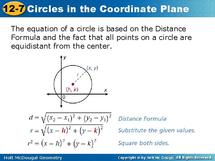 12 -7 Circles in the Coordinate Plane The equation of a circle is based