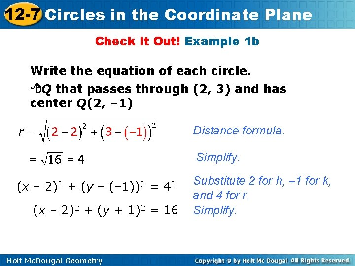 12 -7 Circles in the Coordinate Plane Check It Out! Example 1 b Write