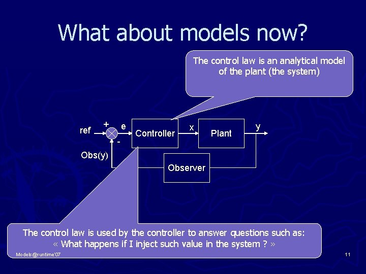 What about models now? The control law is an analytical model of the plant