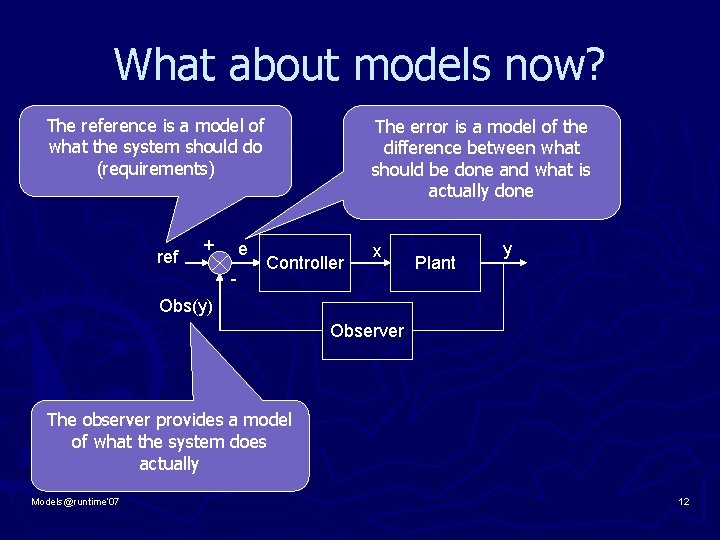What about models now? The reference is a model of what the system should