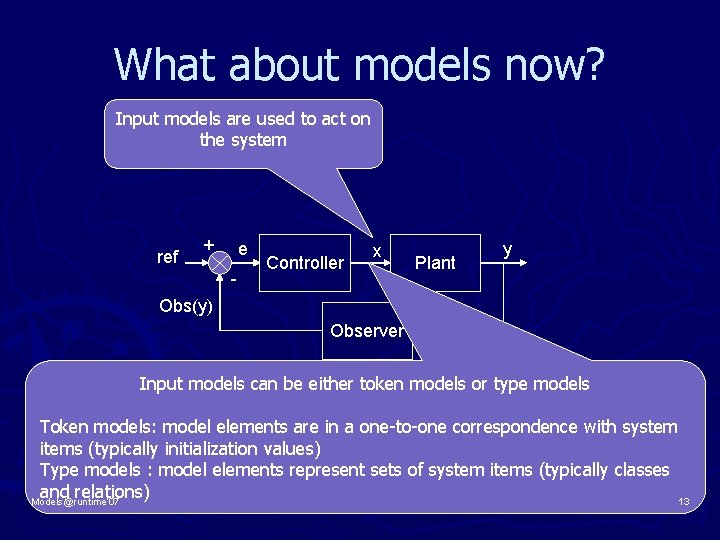 What about models now? Input models are used to act on the system ref