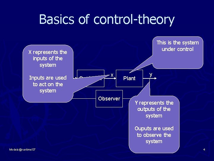 Basics of control-theory X represents the inputs of the system This is the system