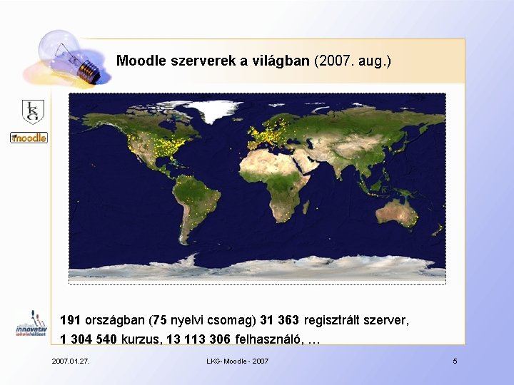 Moodle szerverek a világban (2007. aug. ) 191 országban (75 nyelvi csomag) 31 363
