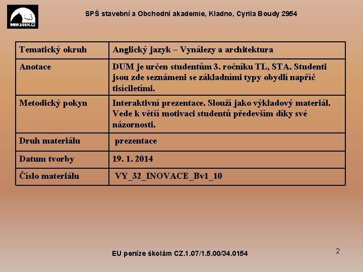 SPŠ stavební a Obchodní akademie, Kladno, Cyrila Boudy 2954 Tematický okruh Anglický jazyk –