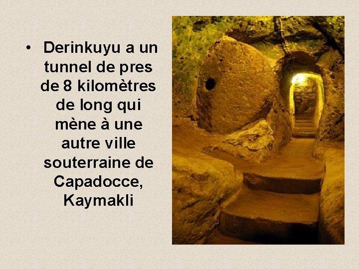• Derinkuyu a un tunnel de pres de 8 kilomètres de long qui