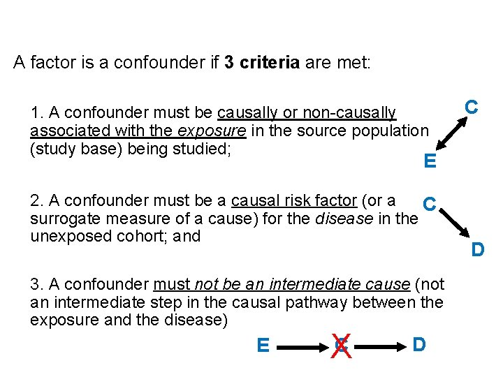 A factor is a confounder if 3 criteria are met: 1. A confounder must