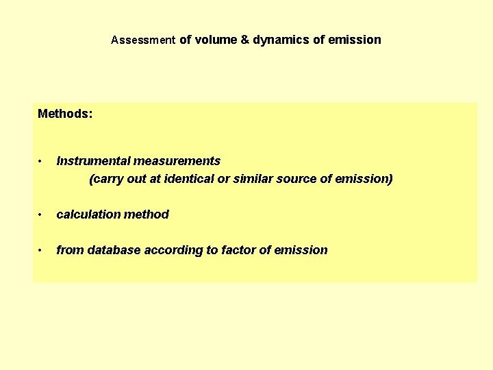 Assessment of volume & dynamics of emission Methods: • Instrumental measurements (carry out at