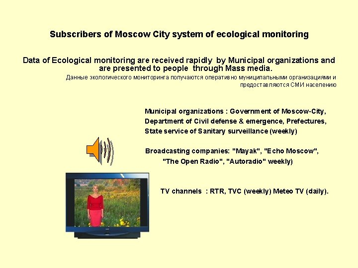 Subscribers of Moscow City system of ecological monitoring Data of Ecological monitoring are received