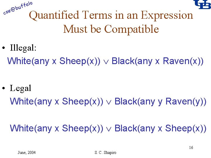 alo f buf @ cse Quantified Terms in an Expression Must be Compatible •