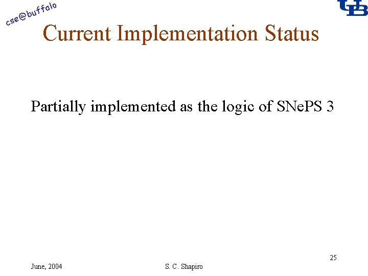 alo @ cse f buf Current Implementation Status Partially implemented as the logic of
